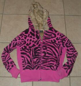 Fuchsia Pink Print Jr Medium 5 / 7 Faux Fur Lined Hooded Thick Jacket CLEARANCE