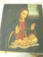 ORIGINAL VINTAGE RETABLO ON TIN VIRGIN MARY AND BABY JESUS SIGNED ''MORO''