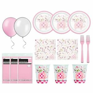 Pink Elephant Baby Shower Deluxe Dessert Bundle Round Table Cover - Serves 24