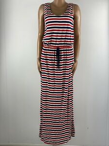 SIMPLY BE Striped Navy Red & White Stretch Jersey Maxi Dress 14