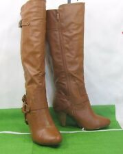 "ladies NEW TAN 4""high heel round toe sexy knee Boots size 8.5"
