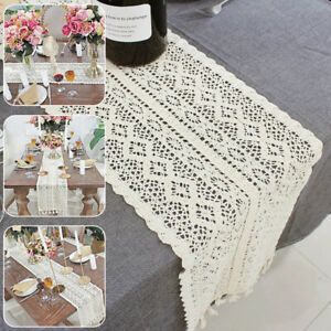 Nordic Romance Lace Woven Tassel Table Runner Beige Table Cover Wedding/Party