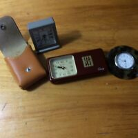 Group of  Three  3 Vintage Travel Clocks one. Linden