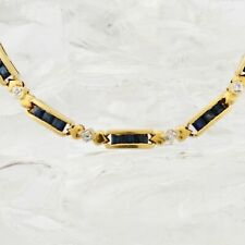 "18k Yellow Gold Estate Sapphire & Diamond Link Bracelet 7"" Long"
