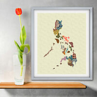 Art Philippines Map Print Manila Travel Poster Painting Abstract Home Wall Decor