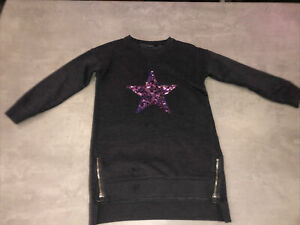 NEXT Girls Age 9 Years Grey Sequin Star Jersey Jumper Dress- Excellent Condition