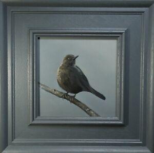 Young Blackbird, Bird Artwork, Framed Home Decor Original Painting Art Not Print