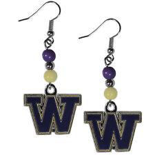 Stainless Steel Dangle Earrings w//CZ Jewelry UNIVERSITY WASHINGTON HUSKIES UW
