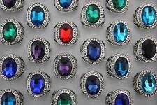 Wholesale Lots 25pcs Glass Rhinestone Alloy unique Unisex Huge Fashion Rings