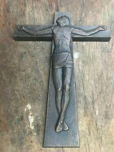 Rare original bronze crucifix sculpture by listed artist Michael Meszaros(1945-)