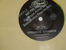 "STRANGE ADVANCE *RARE PROMO 7"" 45 ' WE RUN ' 1985 VGC+"