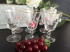 Boxed Set 6  etched retro/ vintage sherry glasses.50s/60s