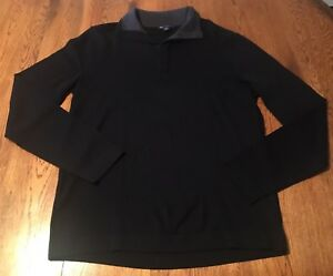 Gap 100% Fine Marino Wool Black Collared Sweater Men's M Medium EUC!