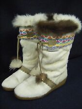 TECNICA Vtg Cream Apre Ski Navajo Winter Goat Fur Boots-36/US 5.5