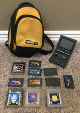 Nintendo GameBoy Advance SP Handheld Console w Games Carry Case