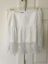 Charlotte Russe Women White Lace Crochet Cold Shoulder Off The Shoulder Top Sz L