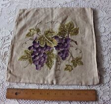 Vintage c1940-1950 Hand Embroidered Grapes On Vine~Wool On Linen Cushion Case