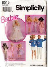Simplicity Sewing Pattern 8518 Barbie Ken 11.5 in Dolls Clothes UNCUT (Tatty env
