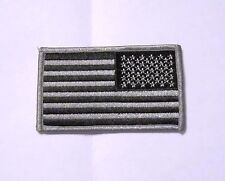 Black Silver American Flag Sew-On Patch Biker Distressed Black Out Reverse Left