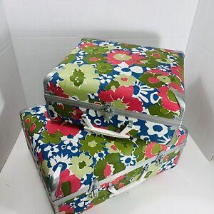 2 Vintage 70s Child Travel Suitcase Hippy Flower Power Groovy BradyBunch 15x12x6