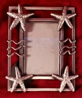 "Pewter-look Metal Starfish Seaside Picture Frame 3.5""x5"". Heavy. Beach-theme"