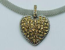 "chunky heart design shape pendant topaz color 14"" mesh chain choker necklace F17"