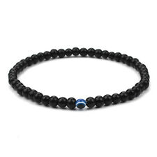 Vintage Men's Evil eye Polish Stones Beads Beaded Bangle Bracelets Elastic Black