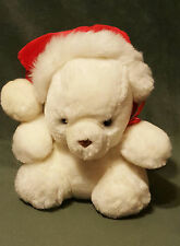 "Vintage 9"" EDEN White Plush HOLIDAY Christmas Bear w/ Santa Hat / Red Bow EUC"