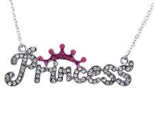 PRINCESS Word Letter Engraved Royal Hot Pink Tiara Crown Pendant Necklace n2023