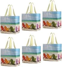 Earthwise Reusable Grocery Bags Shopping - Totes (Pack of 6) (Summer)
