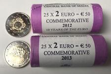 2 x Rolle 2 Euro Gedenkmünze Malta:  2012-Bargeld und 2013-Selbstverwaltung