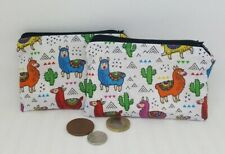 Coin purse Llama fabric coin zip pouch llamas Handmade gift