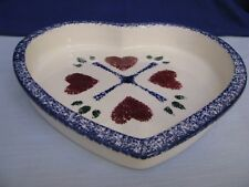 Ceramic Heart Baker White Red Blue Spongeware Serving Dish Flat Earth Clay Works