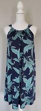 Boden Sun Dress UK 16L US 12L Cotton Blend Navy Turquoise Halter Pockets Shift
