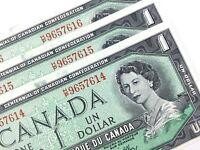 1967 Canada 1 One Dollar HP 3 Consecutive Uncirculated Banknotes R354