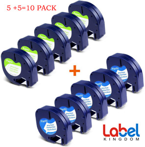 """10 Compatible with DYMO LetraTag Refill 91331 (Plastic) 91330(Paper) 1/2"""" LT100H"""