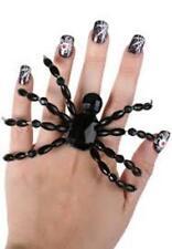 Spider Ring Black Beaded Halloween Jewellery Costume Accessory