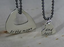 Couples guitar pick sterling silver necklace to the moon and back