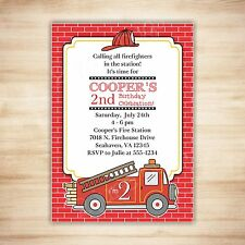 Fire Truck Birthday Party Invitation - DIGITAL PRINTABLE PDF TEMPLATE