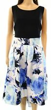SLNY NEW Black Blue Womens Size 18W Plus Floral Print Pleated Dress $119