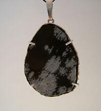 Steinplatten Anhänger aus Sterling Silber mit Schneeflocken Obsidian