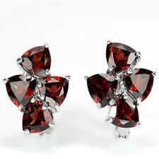 Sterling Silver 925 Four Stone Trillion Genuine Natural Deep Red Garnet Earrings