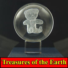 60mm Teddy Bear Laser Etched Crystal Ball