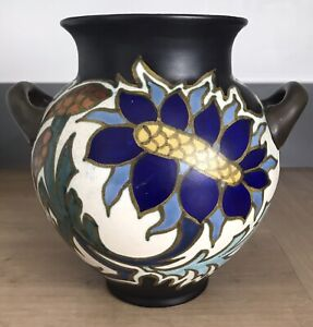 Large Dutch Pottery Gouda Pottery Vase Art Deco Sonna Pattern