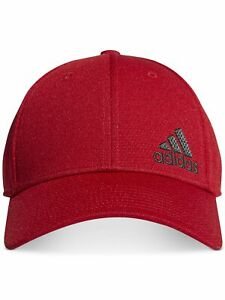 ADIDAS Scarlet/Grey Red Logo Polyester Fitted Climalite Stretch Fit Cap Hat