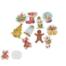 50PCs Christmas Wood Button Two Holes Scrapbooking Crafts