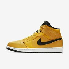New Men's Air Jordan 1 Mid Retro Shoes (554724-700) University Gold//Black-White