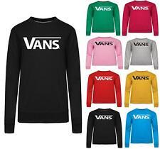 Womens Ladies VANS Print Sweatshirt Slouch Hoodie Pullover Tops Jumper