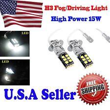 2X Bright White H3 15W Canbus High Power For Fog Driving DRL LED Light Bulb