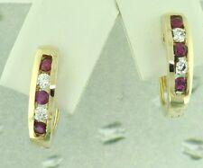 0.80 ct 14k Yellow Gold Natural Diamond & Ruby Earring Huggie  Hoop 4.20 Gram